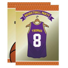 Kids Basketball Birthday Party | Purple Jersey Invitations