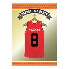 Kids Basketball Birthday Party | Red Jersey Invitation