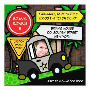 Kids birthday Invitations: 052 Police Invitations