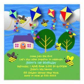 Kid's birthday invitation: 058 Spring Kites Invitation