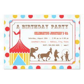 Kids Birthday Invitations - Circus