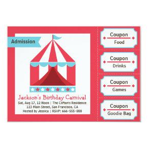 Kids Birthday Party - Carnival Admission Ticket Invitations