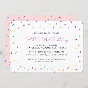 KIDS BIRTHDAY PARTY cute colorful bright sprinkles Invitation