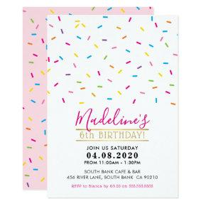 KIDS BIRTHDAY PARTY INVITE cute colorful sprinkles