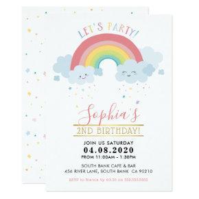 KIDS BIRTHDAY PARTY INVITE pastel rainbow clouds