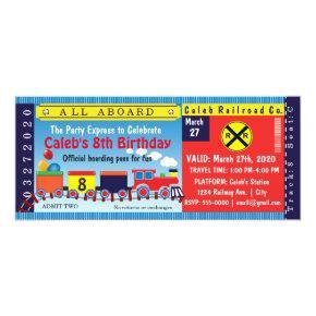 Kids Birthday Party Travel Train Ticket Invitation