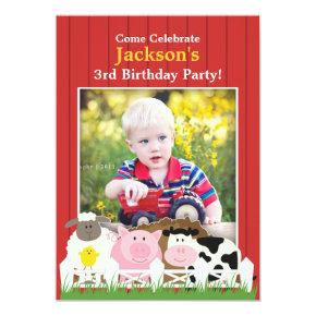 Kids Birthday Photo Farm Flat Invitations