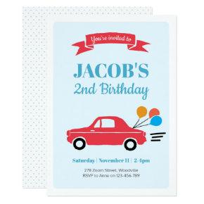 Kids boy car Birthday Invitation