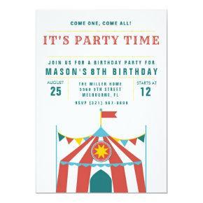 Kid's Circus Birthday Party Invitation