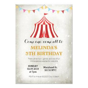 Kids circus carnival Birthday party invitations