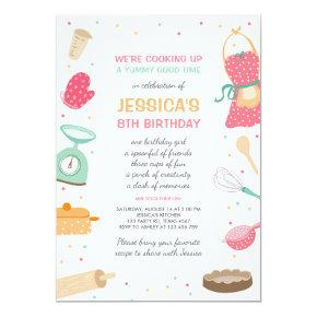 Kids Cooking Birthday Invitations Kitchen Baking
