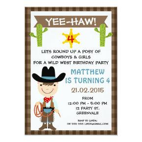 Kids Cowboy Birthday Party Invitations