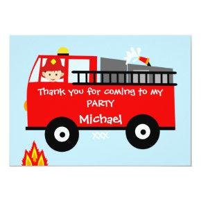 Kids Fire Truck Birthday Thank You Card