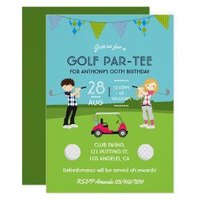 Kids Golf Theme Birthday Party Customized Invitation