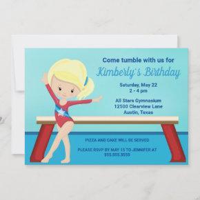 Kids Gymnastics Cute Blonde Girls Birthday Party Invitation