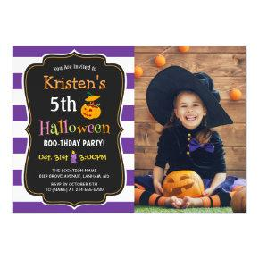 Kids Halloween Birthday Costume Party Photo Invitations