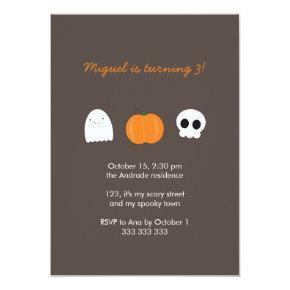Kids Halloween Birthday Photo Skull Ghost Pumpkin Invitation