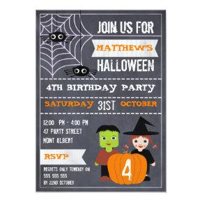 Kids Halloween Chalkboard Birthday Invitation