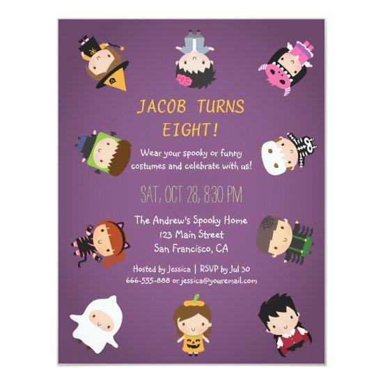 Kids Halloween Costume Birthday Party Invitations Candied Clouds