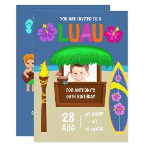 Kids Hawaiian Luau Party add photo Invitations