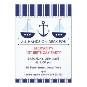 Kids Nautical Sail Boat Anchor Birthday Invitation