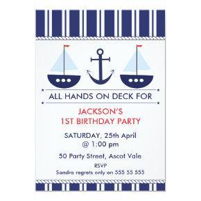 Kids Nautical Sail Boat Anchor Birthday Invitations