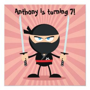 Kids Ninja Theme Party Invitation