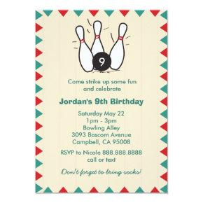Kid's or Adults Retro Bowling Birthday Party Invitation