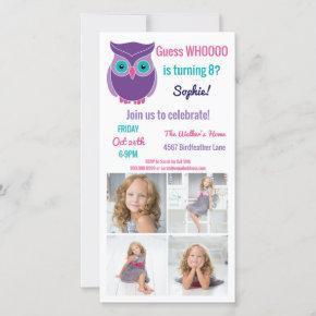 Kids Owl Birthday Party Animal Photo Invitation