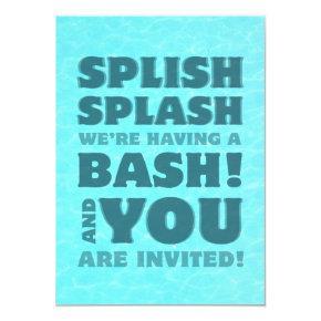 Kids Pool Party Splish Splash Invitations