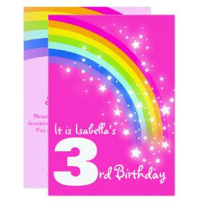Kids rainbow 3rd birthday pink birthday invite