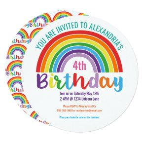 Kids Rainbow Birthday Party Colorful Pretty Girls Invitation