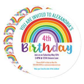 Kids Rainbow Birthday Party Colorful Pretty Girls Invitation