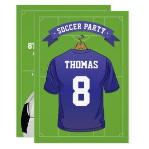 Kids Soccer Birthday Party | Blue Jersey Invitations