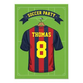 Kids Soccer Birthday Party | Burgandy Blue Jersey Card