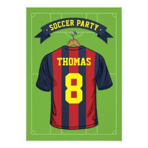 Kids Soccer Birthday Party | Burgandy Blue Jersey Invitation
