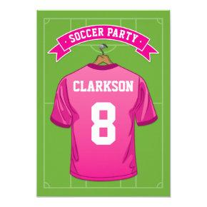 Kids Soccer Birthday Party | Girl Pink Jersey Invitations