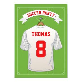 Kids Soccer Birthday Party   White Jersey Invitation