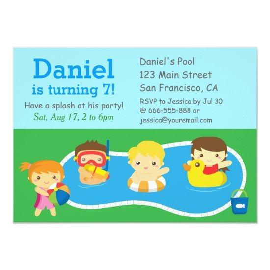 kids summer splash birthday pool party invitations candied clouds