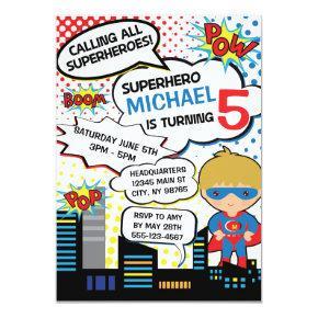 Kids Superhero Birthday Party Invitation Boy Hero