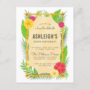 Kids' Tropical Bamboo Frame Luau Birthday Party Invitation Post