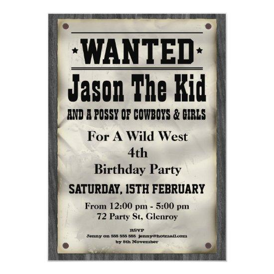 Kids Wild West Wanted Poster Birthday Invitation – Candied Clouds