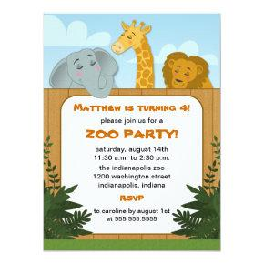 Kids Zoo Birthday Party Invitations
