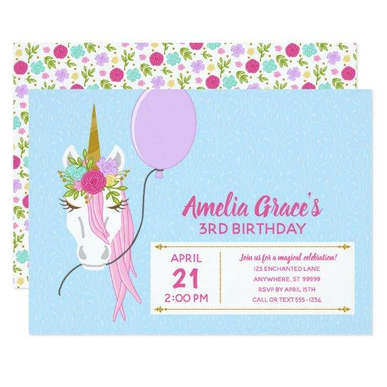 Kimbellished Unicorn Birthday Invitations Layout 1 Candied Clouds