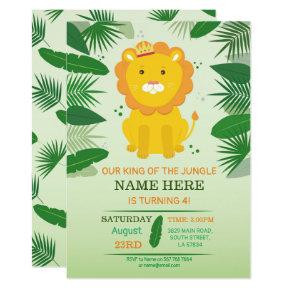 King Jungle Lion Birthday Zoo Safari Birthday Invitation