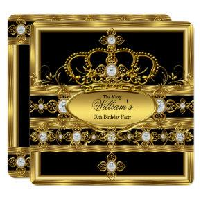 King Prince Queen Royal Gold Diamond Crown Party Invitations