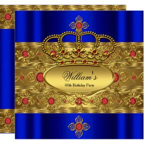 King Prince Royal Blue Gold Red Crown Birthday Card