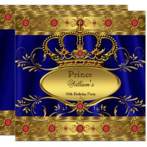 King Prince Royal Blue Regal Red Crown Birthday 2 Invitation