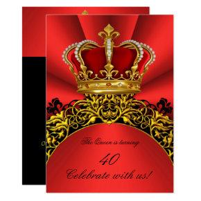 King Queen Gold Royal Regal Red Birthday Party 2 Invitation
