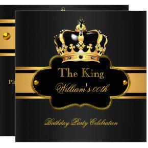 King Queen Royal Black Gold Birthday Men or Women Invitations
